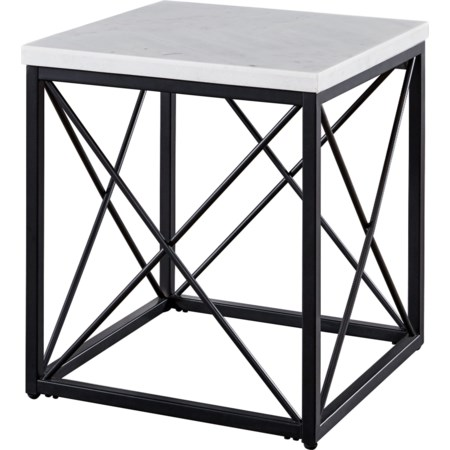 White Marble Top Square End Table