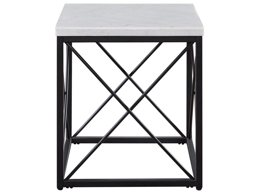Morris Home SalterSalter White Marble Top Square End Table