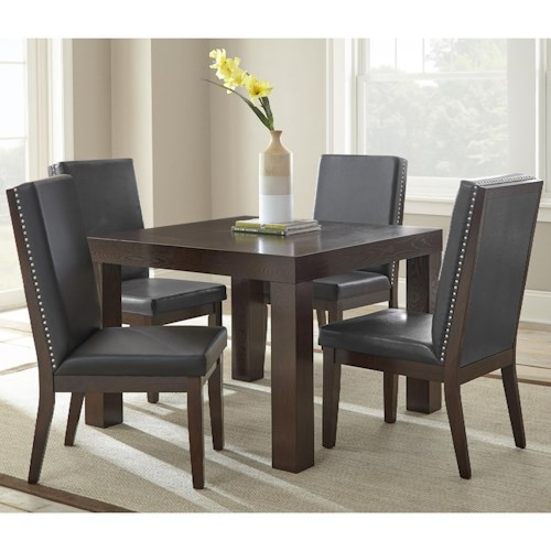 Steve Silver Stella 5 Piece Dining Set with Square Table