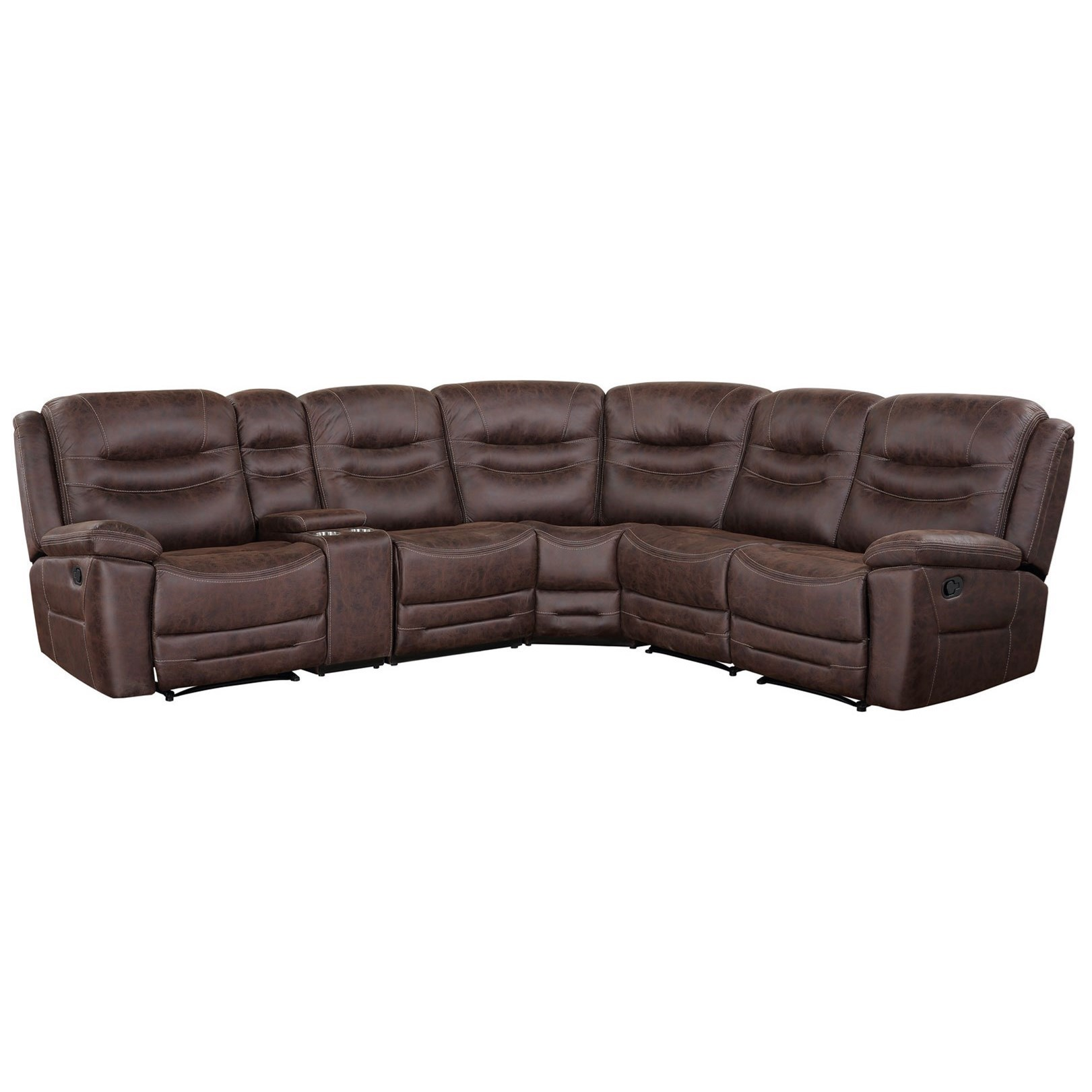 Casual 6-Piece Manual Reclining Sectional with Cup Holders