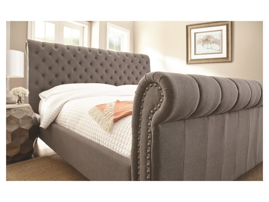 Belfort Essentials SwansonQueen Upholstered Sleigh Bed