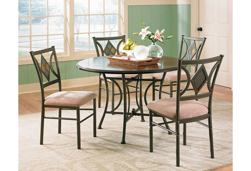 Steve Silver Talston 5 Piece Casual Round Pedestal Dining Table Set Set Morris Home Dining 5 Piece Sets