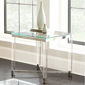 Steve Silver Talia Glass Top End Table with Acrylic Legs