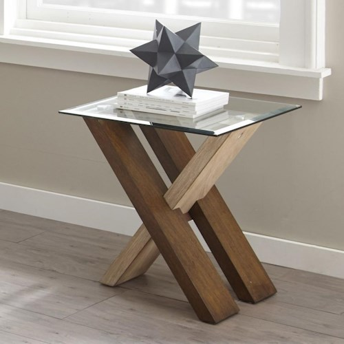 Steve Silver Tasha End Table with Glass Top