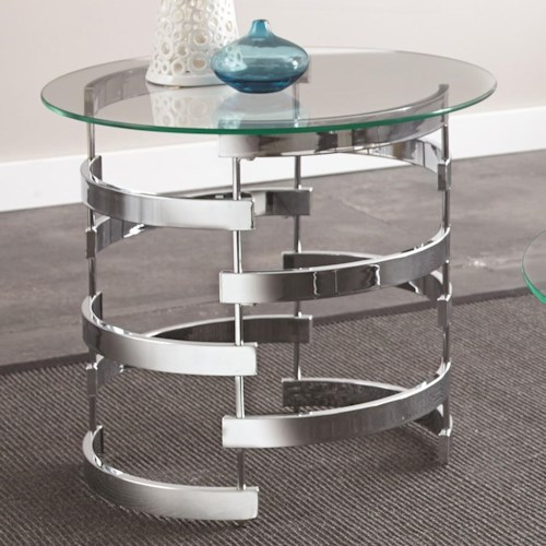 Steve Silver Tayside Round End Table with Glass Top