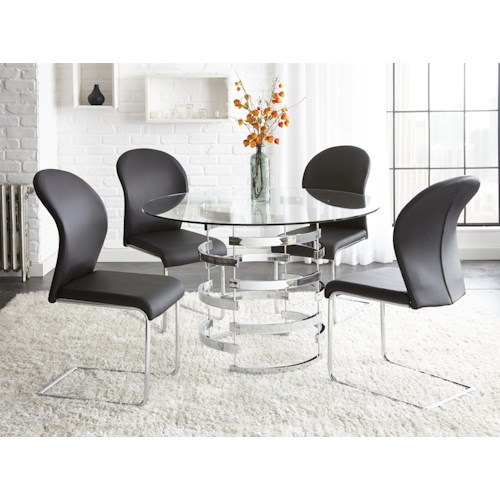Steve Silver Tayside 5 Piece Round Glass Table Set with Chrome Pedestal