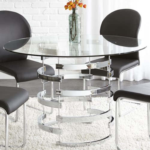 Steve Silver Tayside Tempered Glass Dining Table