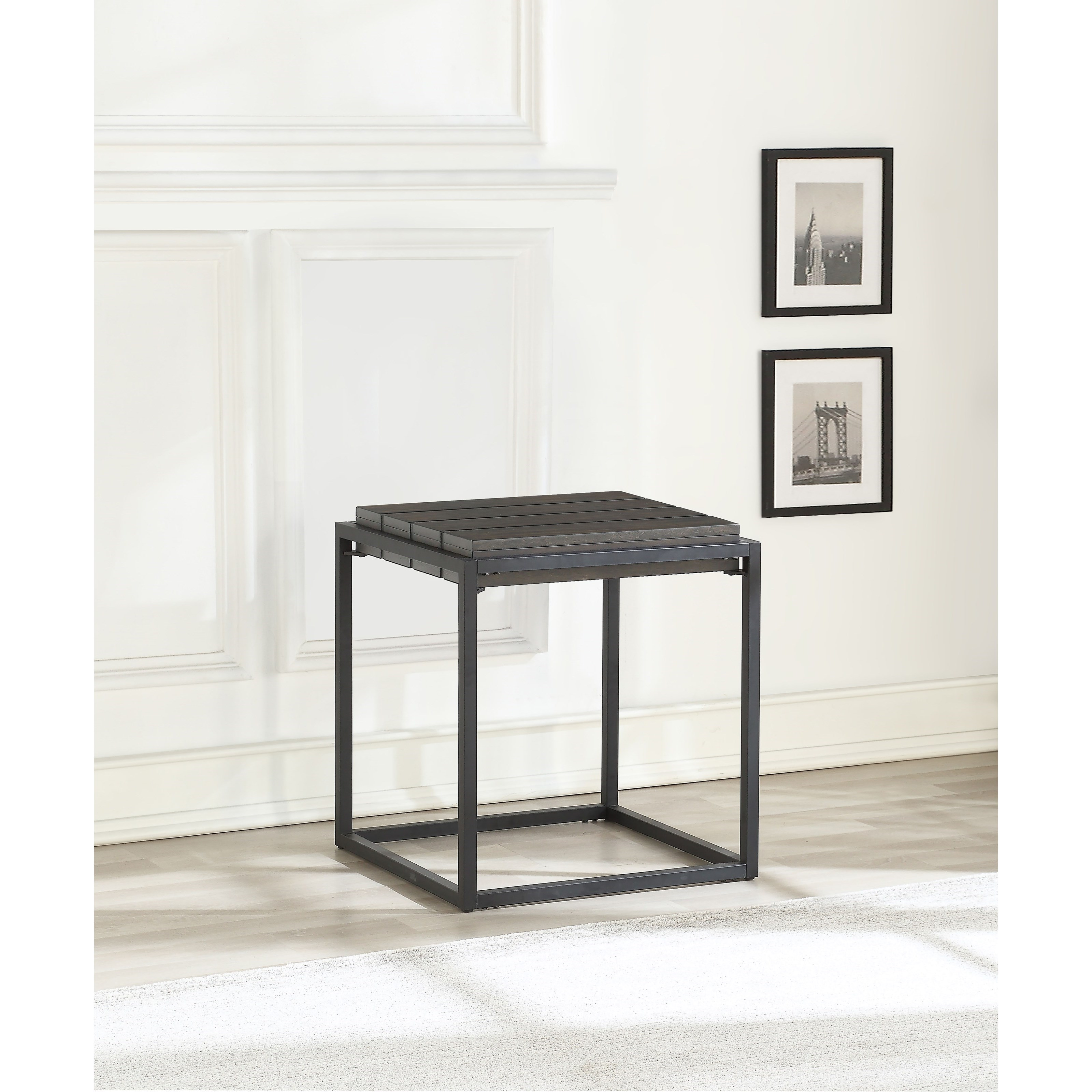 Contemporary End Table with Iron Base
