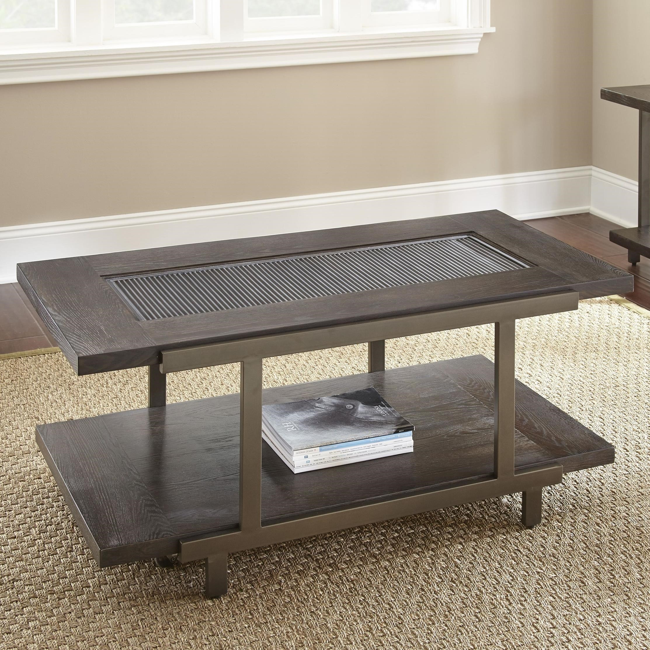 Industrial Cocktail Table with Metal and Glass Top and Casters