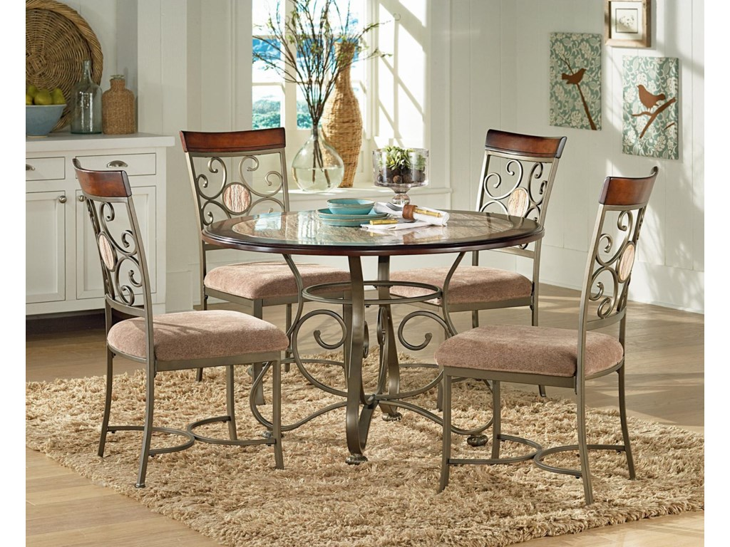 Steve Silver Thompson STEV-GRP-TP450-TBL&4 Dining Table with Metal ...