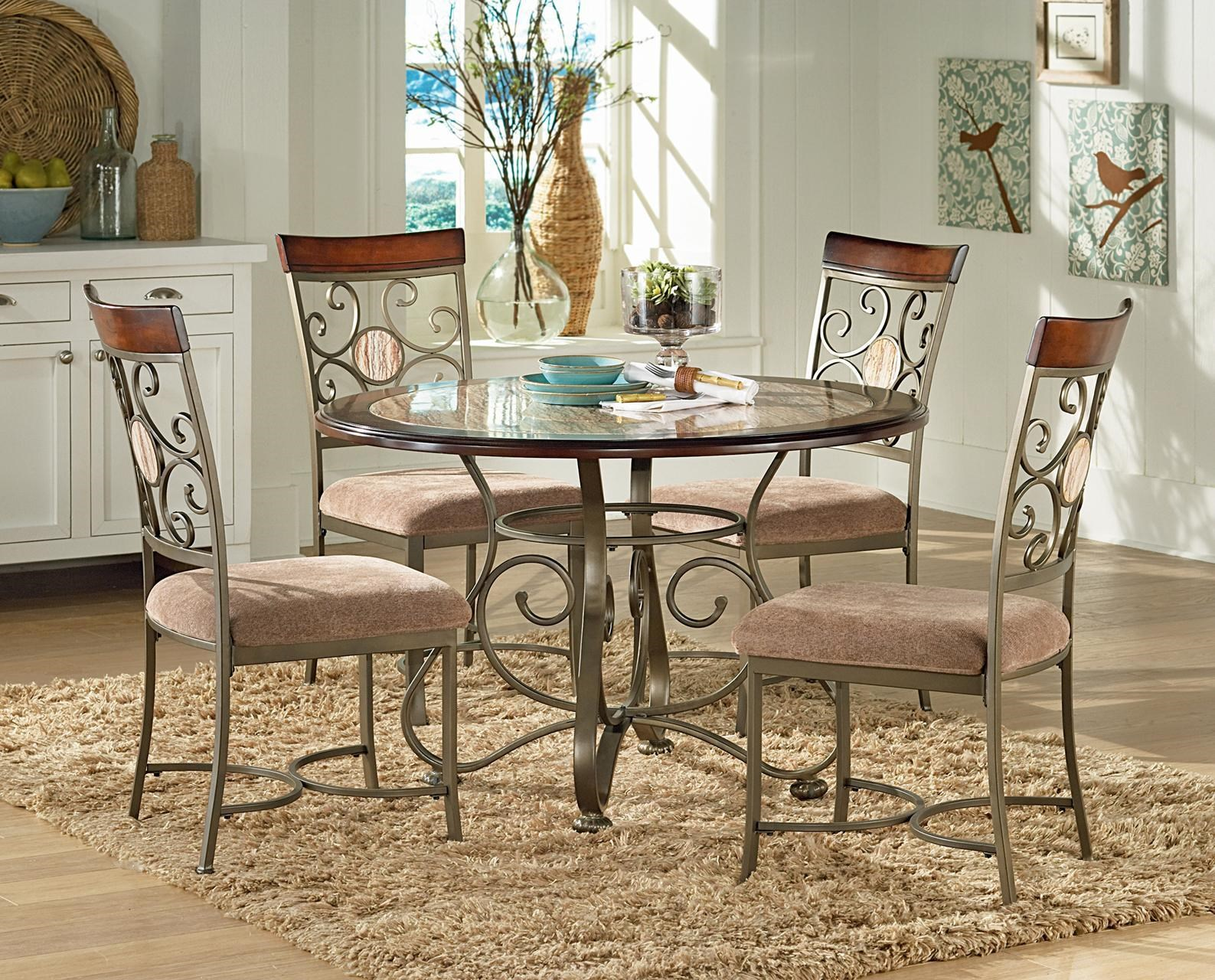 Steve Silver ThompsonDining Table With Metal Base U0026 U0026 4 Side Chai ...