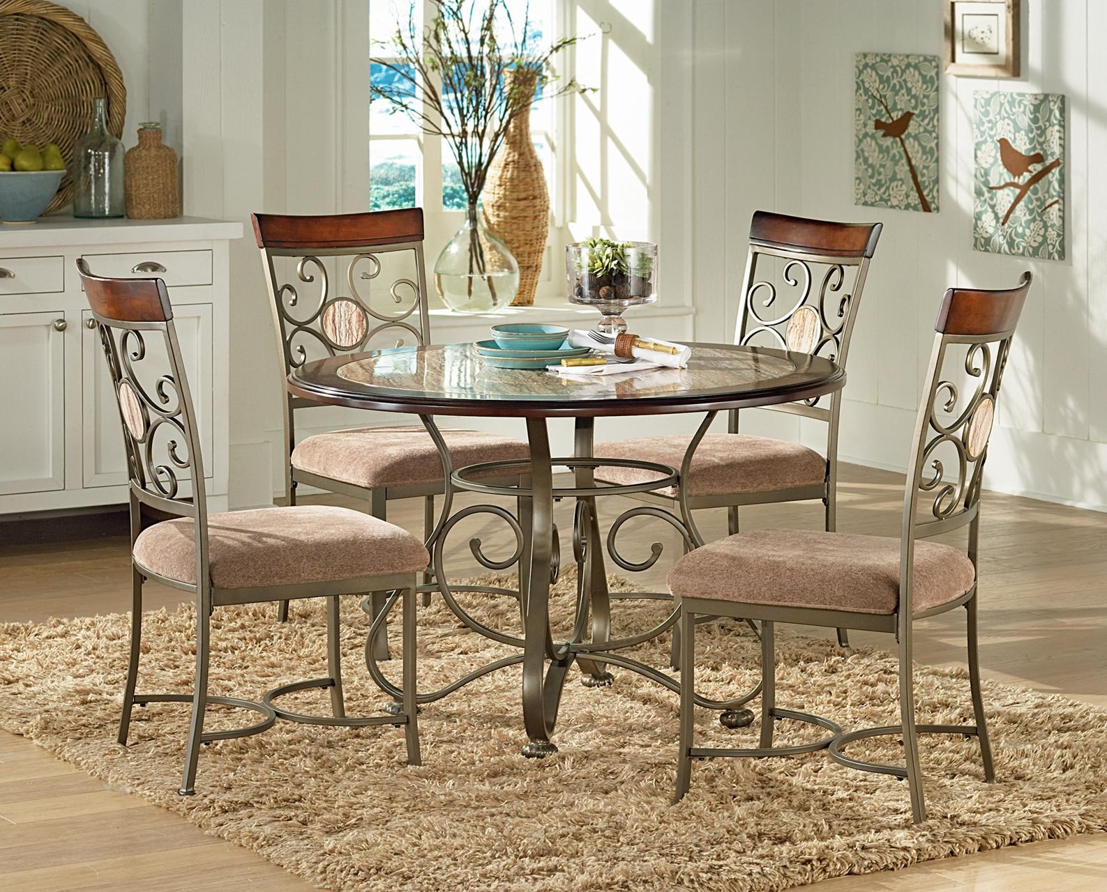 Thompson 5 Piece Metal Base Table And Suncatcher Dining Chair Set By Steve Silver At Knight Furniture Mattress