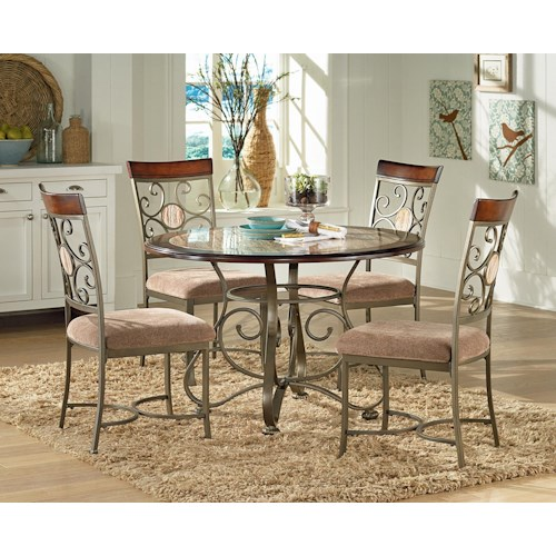 Steve Silver Thompson 5 Piece Metal Base Table and Suncatcher Dining Chair Set