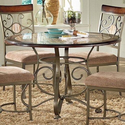 Steve Silver Thompson Scrolled Metal Base Round Top Table