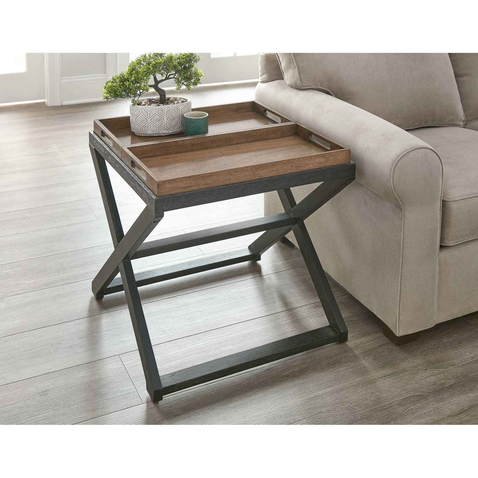 Transitional End Table with Two Reversible Tray Tops