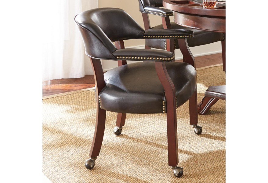 Steve Silver Tournament Tournament Game Arm Chair With Casters Standard Furniture Dining Chairs With Casters