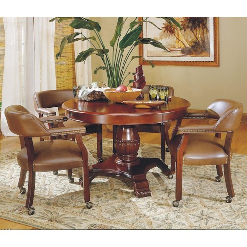 Steve Silver Tournament Tournament Round Game Table & Caster Arm Chair Set