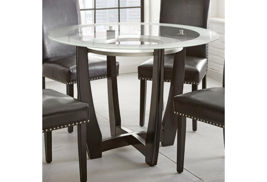 Steve Silver Verano Contemporary 45 Round Glass Top Dining Table Standard Furniture Dining Tables