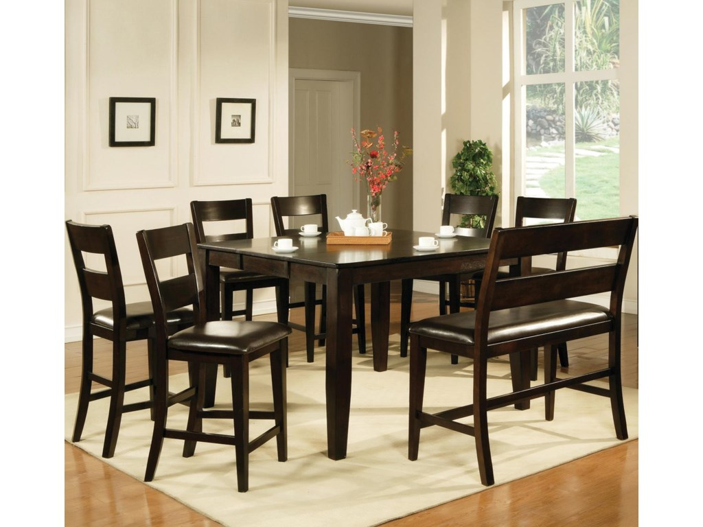 steve silver victoria  piece counter height dining set with bench  - steve silver victoria  piece counter height dining set with bench  greatamerican home store  table  chair set with bench