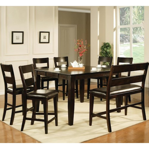 Steve Silver Victoria  8 Piece Counter Height Dining Set with Bench
