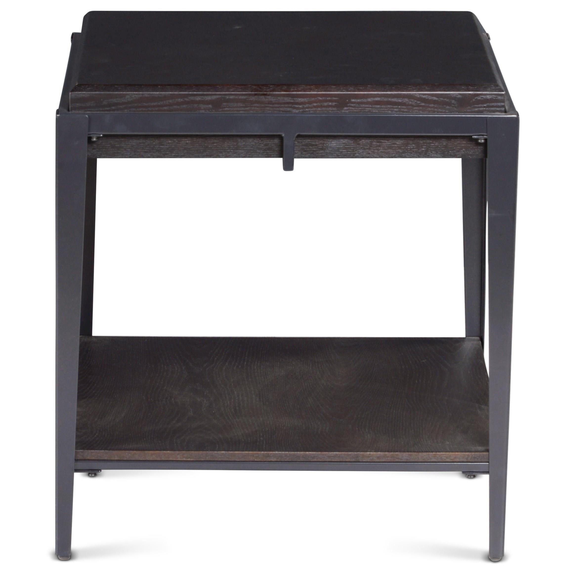 Wood/Metal Square End Table