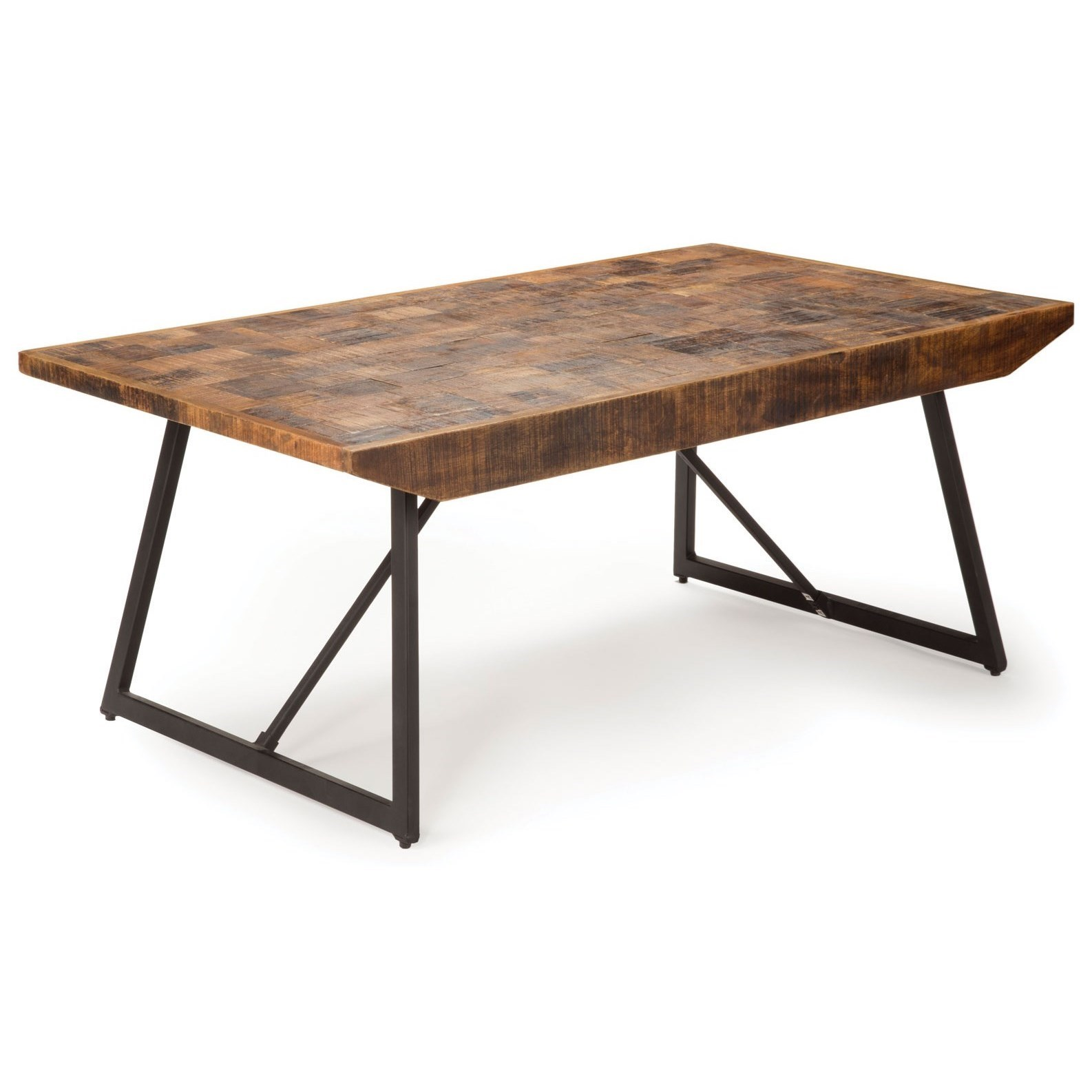 Rustic Industrial Cocktail Table with Parquet Pattern Wood Top