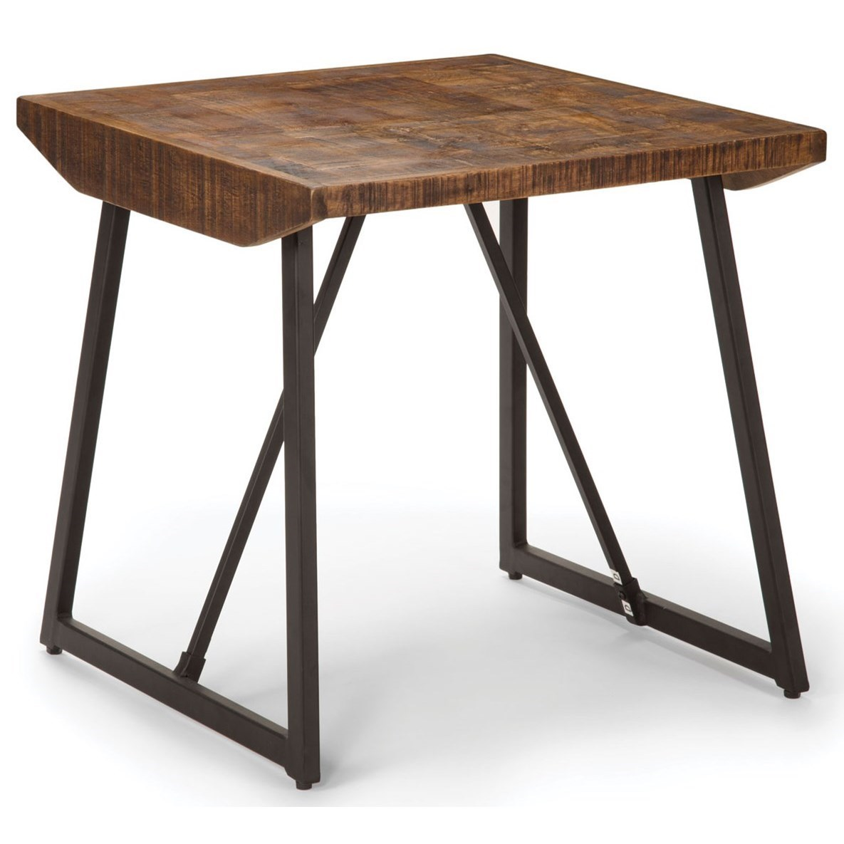 Rustic Industrial End Table with Parquet Pattern Wood Top
