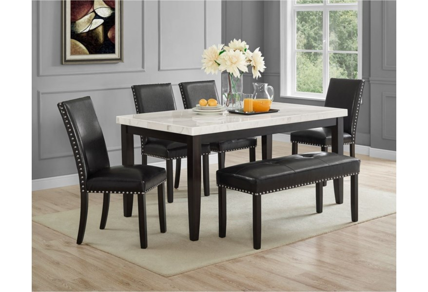 Steve Silver Westby Transitional White Marble Top Dining Table Standard Furniture Dining Tables