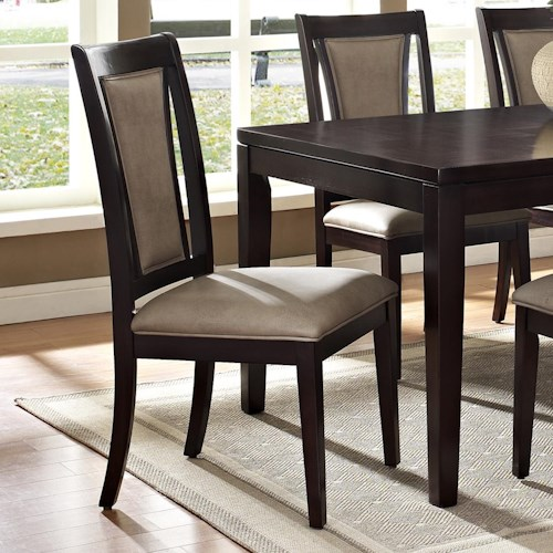 Steve Silver Wilson Contemporary Dark Brown Side Chair with Uphosltered Seat