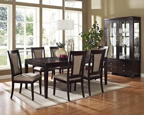 Steve Silver Wilson 7-Piece Contemporary Rectangular Dining Table & Side Chair Set
