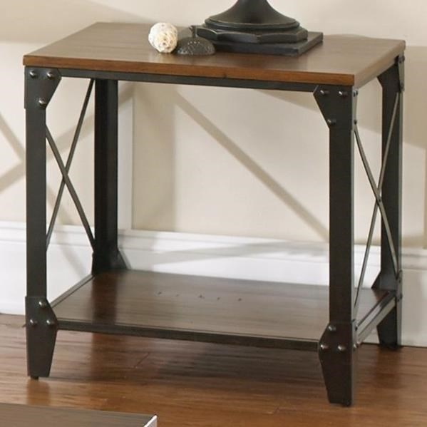 Steve Silver Winston Industrial Square End Table With Solid Birch
