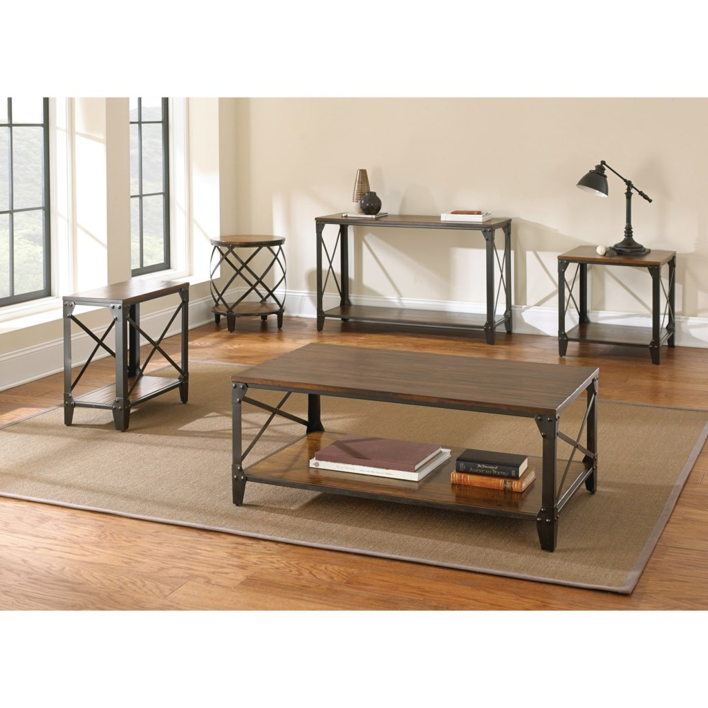 Steve Silver Winston Industrial Sofa Table With Solid Birch Hardwood