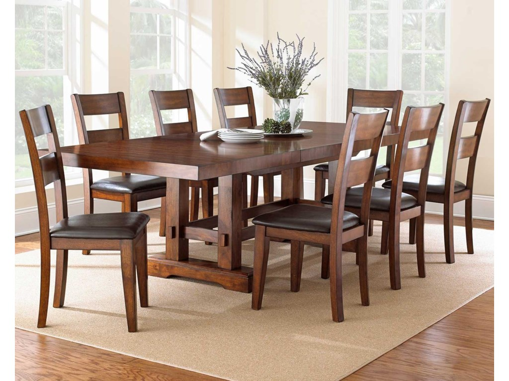 Vendor 3985 Zappa 9 Piece Dining Set With Ladderback Chairs Becker