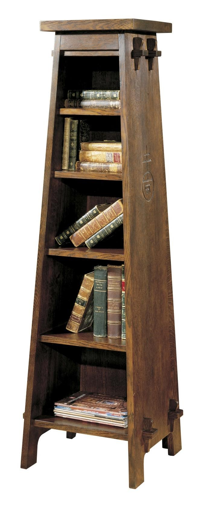 Stickley Oak Mission Classics Roycroft Tiered Shelf Magazine Pedestal    Jacksonville Furniture Mart   Open Bookcase