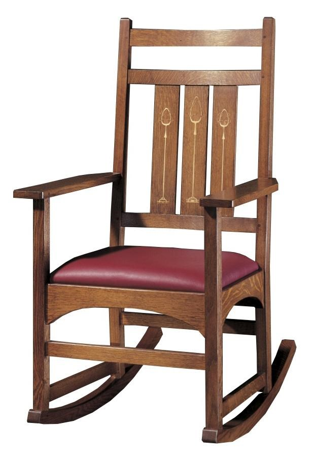 Oak Mission Classics Harvey Elis Rocker With Inlay By Stickley