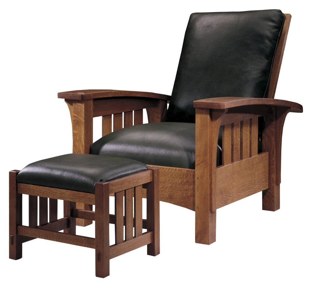 Oak Mission Classics Loose Cushion Bow Arm Morris Chair By Stickley