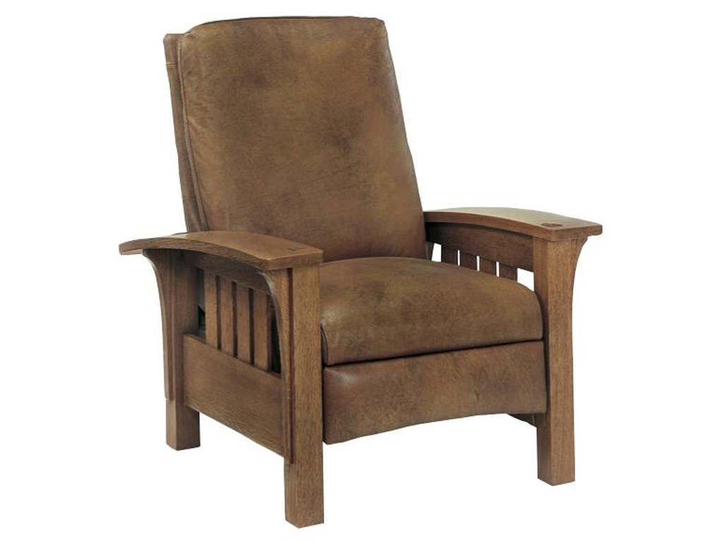 Stickley Oak Mission ClassicsBustle Back Bow Arm Morris Recliner