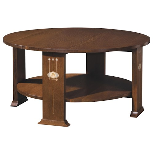 Stickley Oak Mission Classics Harvey Ellis Round Cocktail Table Sprintz Furniture Cocktail
