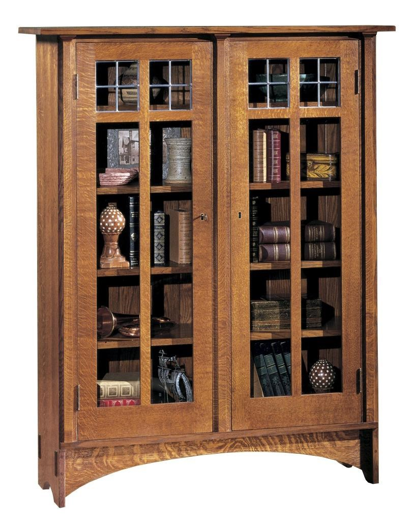 Stickley Oak Mission Classics Double Glass Door Bookcase With 8 Shelves -  Jacksonville Furniture Mart - Closed Bookcase