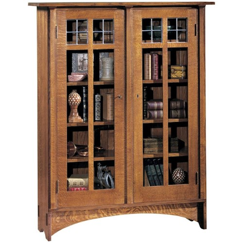 Stickley Oak Mission Classics Double Glass Door Bookcase With 8