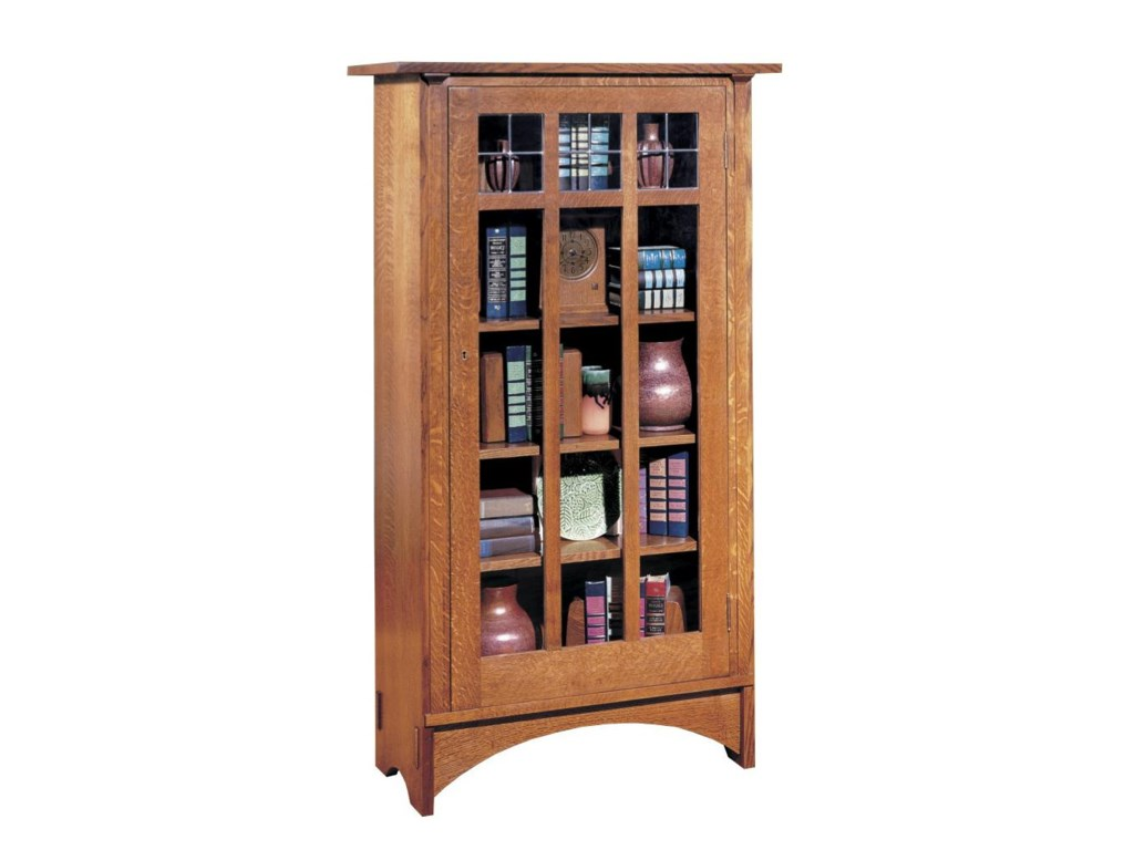 Oak Mission Classics Single Door Bookcase With 4 Shelves By Stickley
