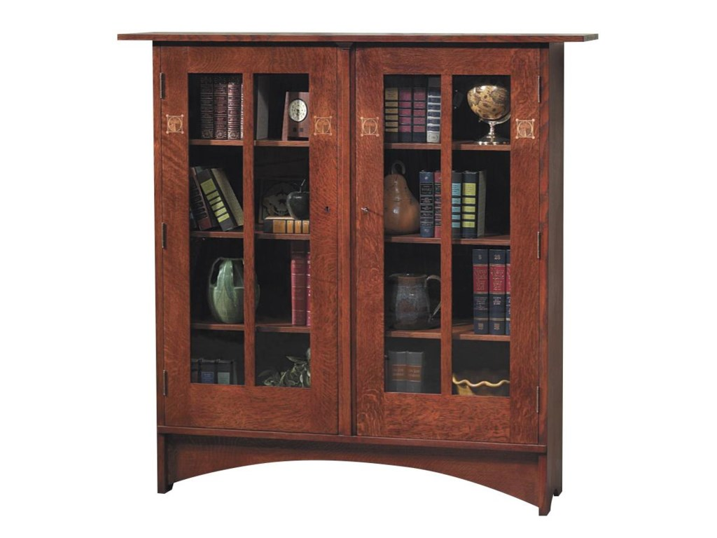 Stickley Oak Mission ClassicsHarvey Ellis Bookcase with Inlay
