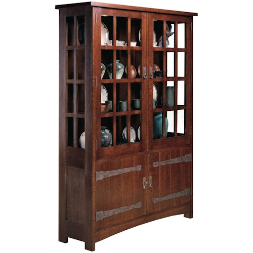 Stickley Oak Mission Clics China Cabinet With Paned Gl Doors