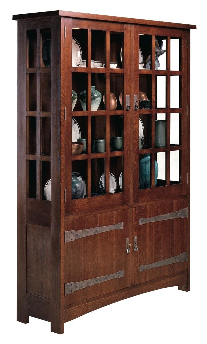 Superbe Stickley Oak Mission Classics China Cabinet With Paned Glass Doors
