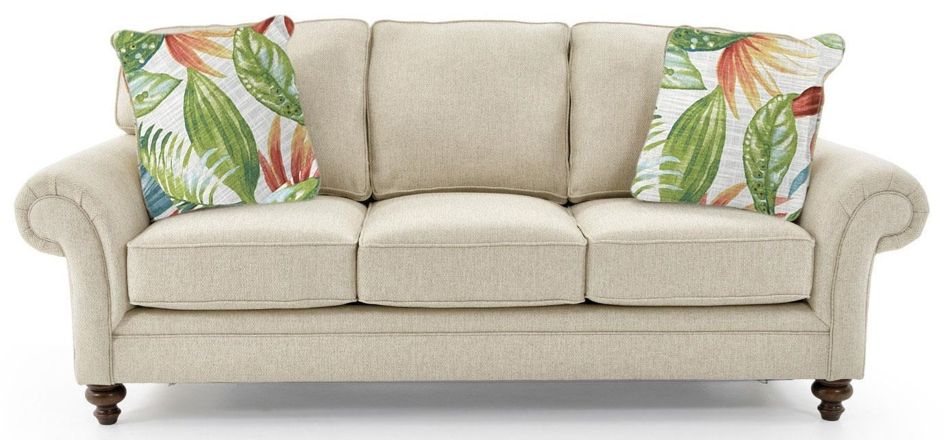 Rolled Arm Sofa with Tropical Pillows