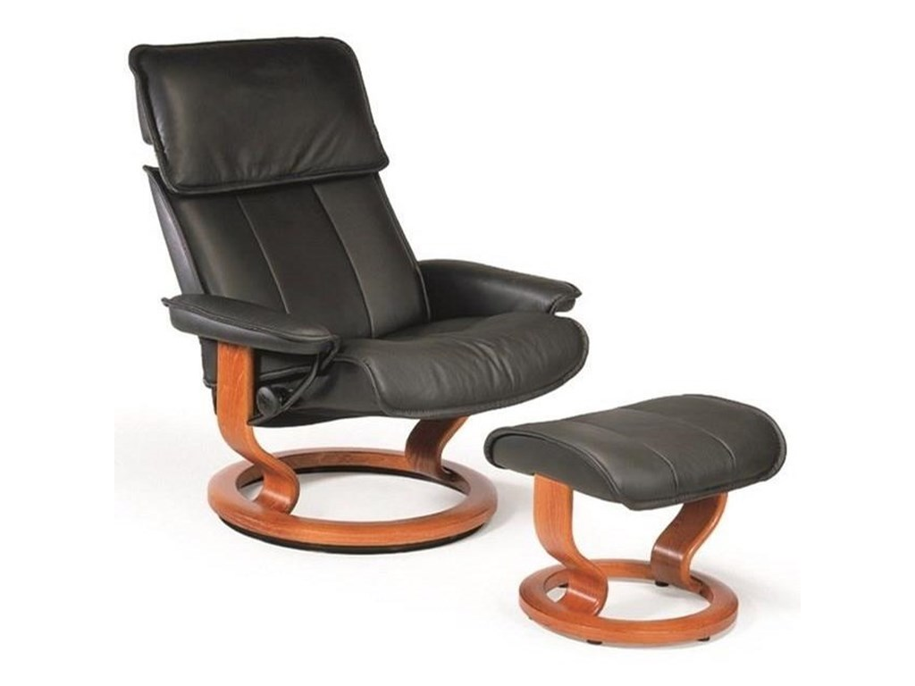 Stressless AdmiralLarge Reclining Chair and Ottoman