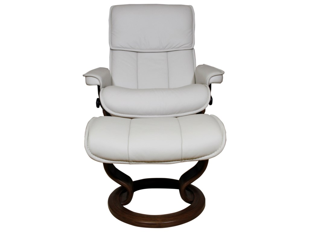 Stressless AdmiralMedium Reclining Chair and Ottoman