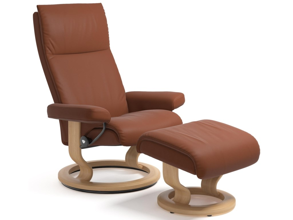 Stressless AuraLarge Reclining Chair and Ottoman