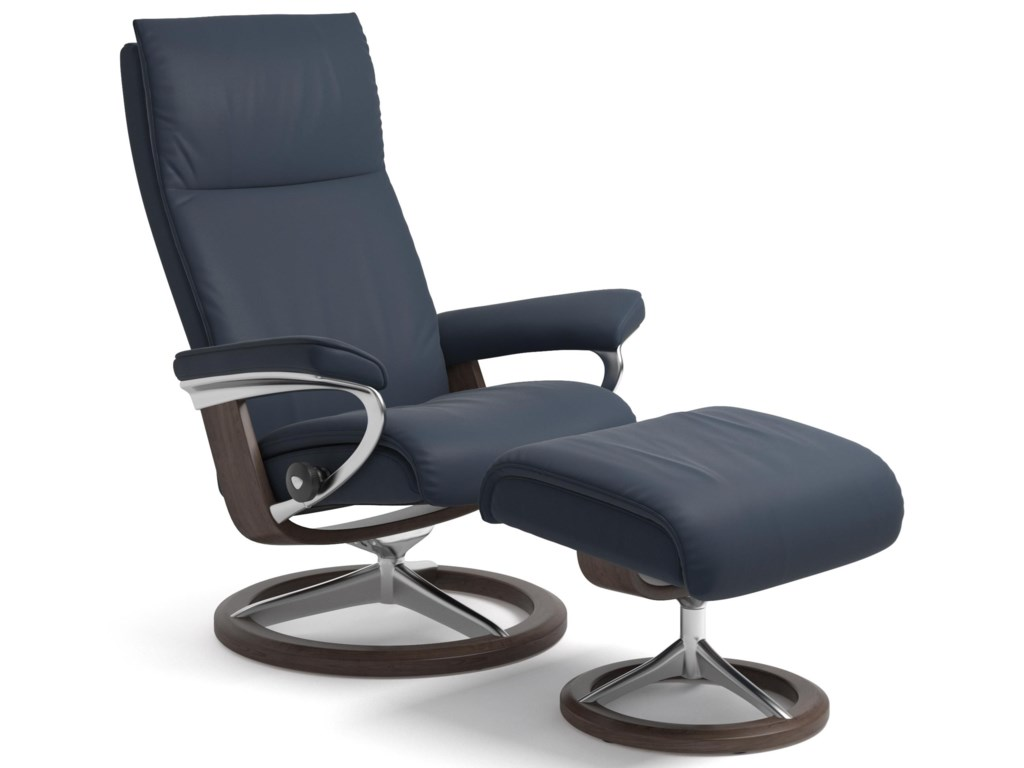 Stressless AuraSmall Reclining Chair and Ottoman