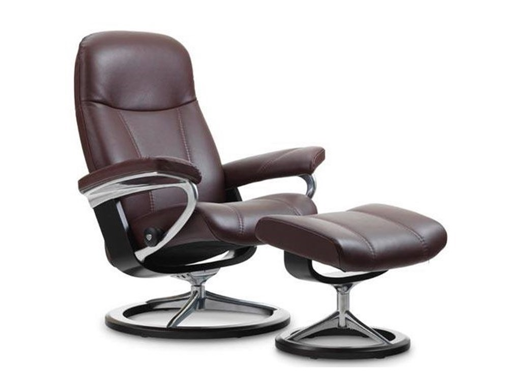 Stressless ConsulLarge Reclining Chair and Ottoman